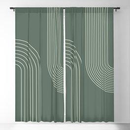 Geometric Lines in Sage Green 5 (Rainbow Abstraction) Blackout Curtain