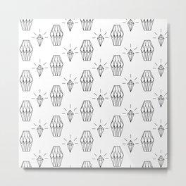 Geometrical black white diamond shapes pattern Metal Print