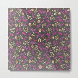 Botanical neon pink brown gray floral illustration Metal Print