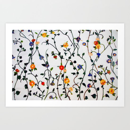 FLORAL AND VINE ABSTRACT PATTERN Art Print