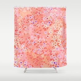 Little flowers on Living coral, peach and pink Shower Curtain