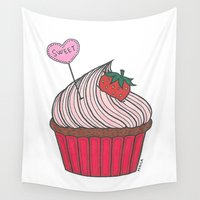 cupcake Wall Tapestries featuring Cupcake by Afriquita