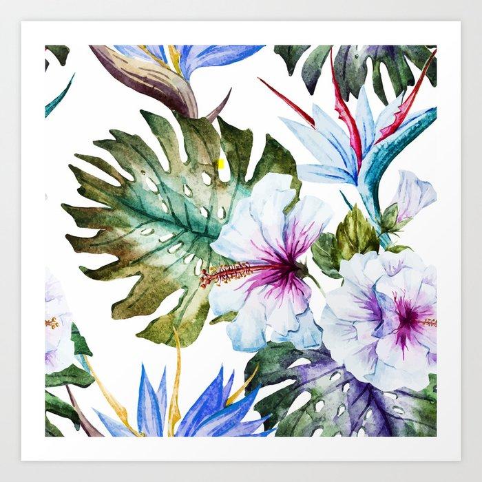Watercolor Tropical Hibiscus Art Print