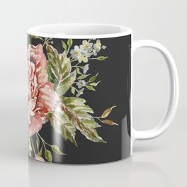 Pink Wild Rose Bouquet on Charcoal Coffee Mug