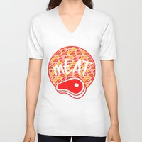 meat V-neck T-shirts featuring mEAT by Firefly