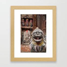 Fu with Prayer Wheels in Background Framed Art Print