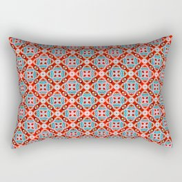 Retro Kitchen Check Cloth , Vintage Red & Blue Chequerboard Daisy flower Pattern Rectangular Pillow