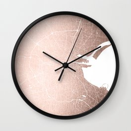 Dublin Street Map Rose Gold and White Wall Clock