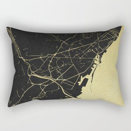 Barcelona Black and Gold Map Rectangular Pillow