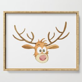 Reindeer Watercolor Christmass Cartoon - White Background Serving Tray