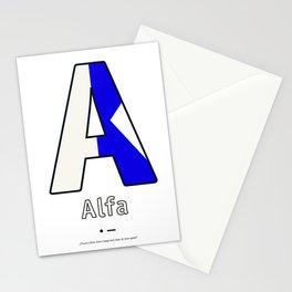 Alfa - A - Navy Alphabet Stationery Cards