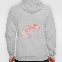 Nishikigoi Koi Jumping Waves Drawing Hoody