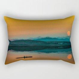 Serene Sunrise by the Lake Rectangular Pillow