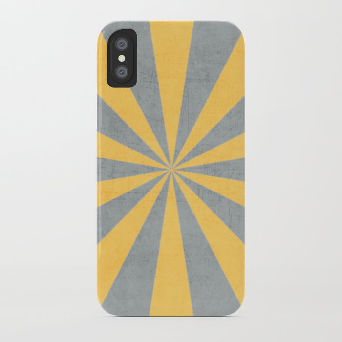 gray and yellow starburst iPhone Case