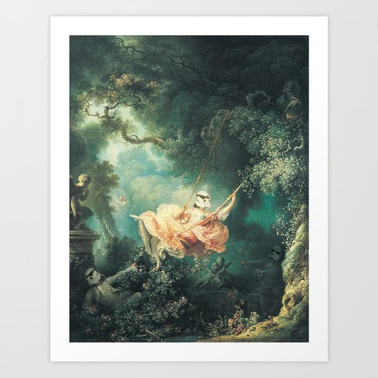 "Homage to Fragonard, ""The Swinging Stormtrooper"". Art Print"