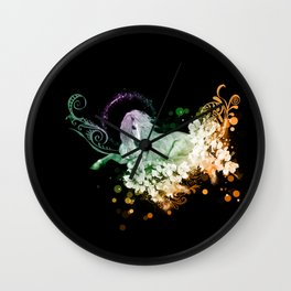 Wonderful unicorn with flowers Wall Clock