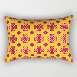 Pink floral medallions on yellow Rectangular Pillow