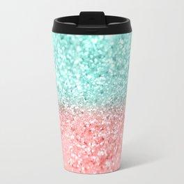 Summer Vibes Glitter #1 #coral #mint #shiny #decor #art #society6 Travel Mug