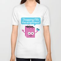 sagan V-neck T-shirts featuring Retail Therapy by David Olenick