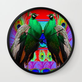 GREEN PEACOCKS & RED-PURPLE  MODERN ART Wall Clock
