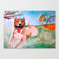 pit bull Canvas Prints featuring Pit Bull by Caballos of Colour