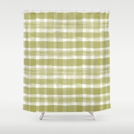 Watercolor Brushstroke Plaid Pattern Pantone Golden Lime Green 16-0543 Shower Curtain