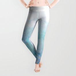 Fresh Blue and Aqua Ombre Frozen Marble Leggings