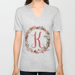 Personal monogram letter 'K' flower wreath Unisex V-Neck