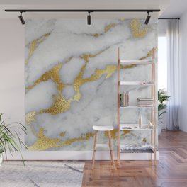 White and Gray Marble and Gold Metal foil Glitter Effect Wall Mural