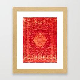 Geometric Orange Oriental Vintage Traditional Moroccan Mandala Framed Art Print