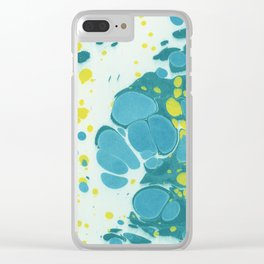 Abstract blue and yellow marble on paper Clear iPhone Case