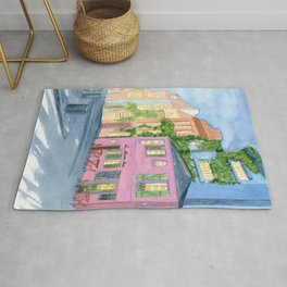 Paris, La maison rose, watercolor cityscape Rug