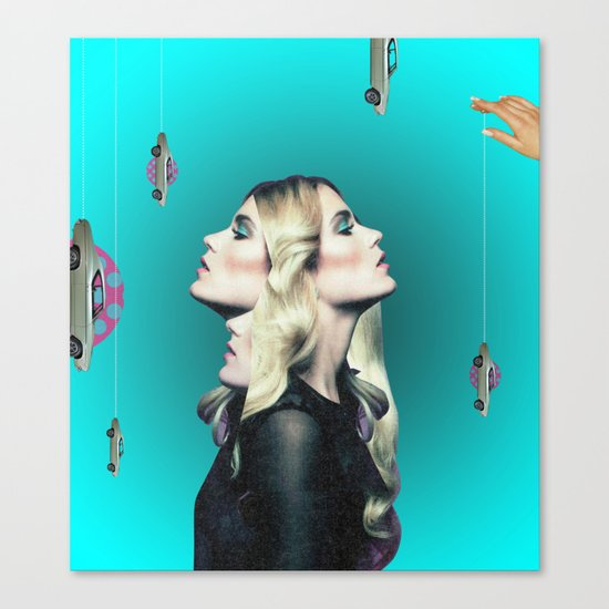 Frau auf blauem Grund Canvas Print