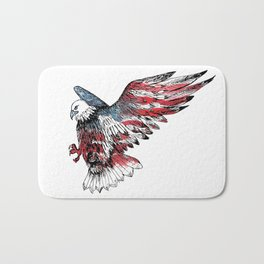 Watercolor bald eagle symbol of the United States Bath Mat