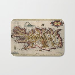 Map Of Iceland 1595 Bath Mat