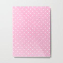 White on Cotton Candy Pink Snowflakes Metal Print