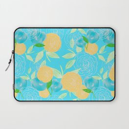06 Yellow Blooms on Blue Laptop Sleeve