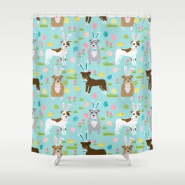 Pitbull easter dog breed pet patter rescue dog pibble lovers spring easter eggs Shower Curtain