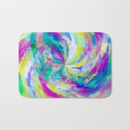 colorful splash painting abstract in pink green blue yellow Bath Mat
