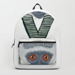 V is for Verve Monkey Letter Alphabet Decor Design Art Pattern Backpack