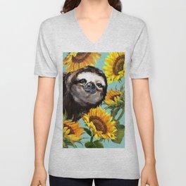 Sloth with Sunflowers Unisex V-Neck