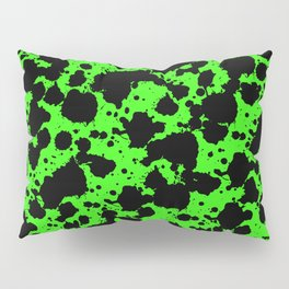 Bright Green and Black Leopard Style Paint Splash Funny Pattern Pillow Sham