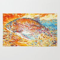trout Area & Throw Rugs featuring Trout at sunset by LiliyaChernaya