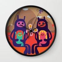 aliens Wall Clocks featuring Aliens by MilkSilk