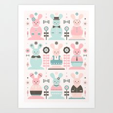 Pink Sugar Gingerbread Rabbits  Art Print