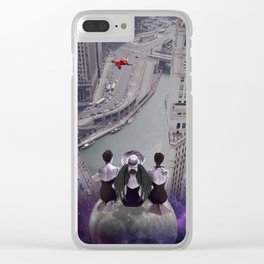 let's look down on everything from the super moon Clear iPhone Case