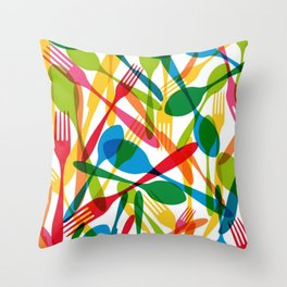 Colorful dishware elements seamless pattern illustration Throw Pillow
