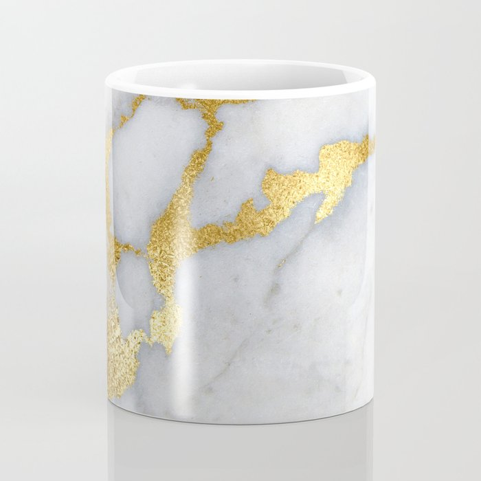 White and Gray Marble and Gold Metal foil Glitter Effect Coffee Mug