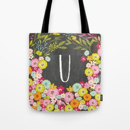 U botanical monogram. Letter initial with colorful flowers on a chalkboard background Tote Bag