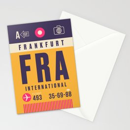 Retro Airline Luggage Tag - FRA Frankfurt Stationery Cards